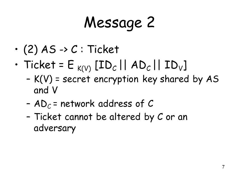 Message 2 (2) AS -> C : Ticket Ticket = E K(V) [IDC || ADC || IDV]